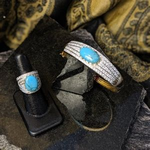 Jewelry - Genuine turquoise, gold vermeil 925 silver ring